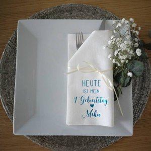 Bedruckte - Servietten - Geburtstag - Stoff-Einweg -Logo 62 photo review